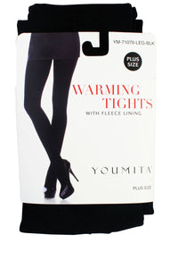 Ladies pus size warming tights with fleece lining