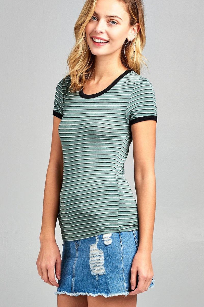 Ladies fashion round neck short sleeve yarn dye stripe rayon spandex jersey top - Kendalls Deals