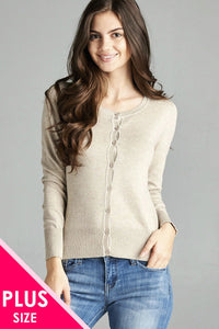 Ladies fashion plus size 3/4 sleeve crew neck cardigan sweater - Kendalls Deals