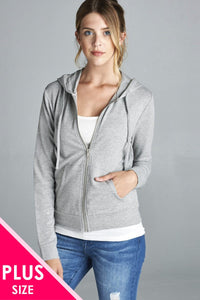Ladies fashion plus size long sleeve zipper french terry jacket w/ kangaroo pocket - Kendalls Deals