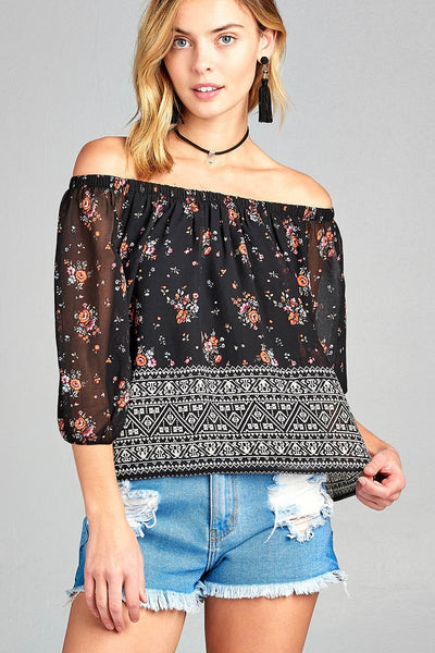 Ladies fashion off the shoulder with floral border print chiffon woven top - Kendalls Deals