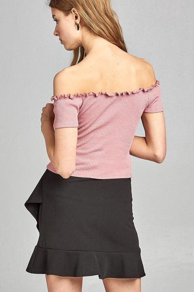 Ladies fashion short sleeve off the shoulder front keyhole w/self bow tie merrow hem knit top - Kendalls Deals