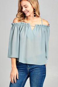 Bell sleeve open shoulder georgette chiffon woven top - Kendalls Deals