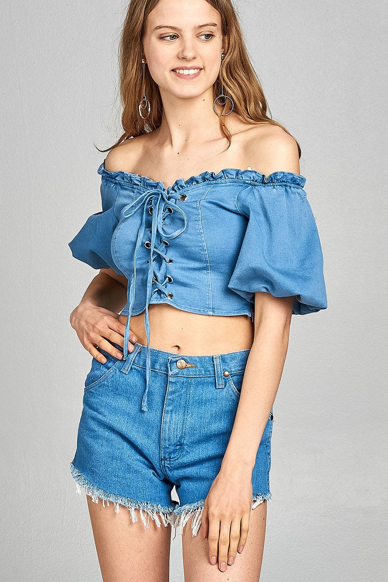Ladies fashion short bubble sleeve heart neckline w/ruffle front ace-up denim crop top - Kendalls Deals