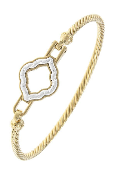 Two tone quatrefoil rope hook bangle bracelet - Kendalls Deals