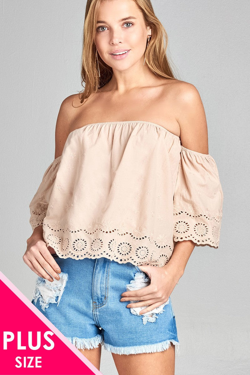 Ladies fashion plus size short sleeve off the shoulder crochet eyelet cotton top - Kendalls Deals