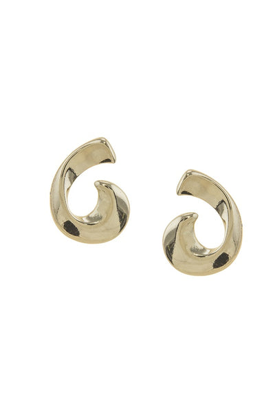 Metal swirl stud earrings