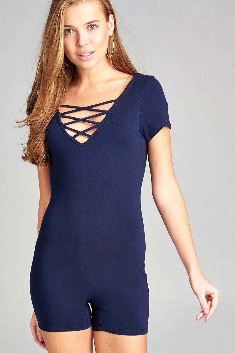 Ladies fashion short sleeve v-neck w/strappy strap cotton spandex bodycon romper - Kendalls Deals