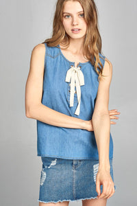 Ladies fashion sleeveless front lace up detail chambray top - Kendalls Deals