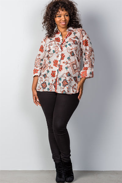 Plus size multi mix printed roll-sleeve plus size top - Kendalls Deals