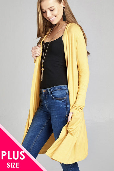 Plus size long sleeve open front w/pocket long length rayon spandex cardigan - Kendalls Deals