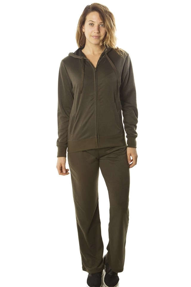 Ladies fashion french terry hoodie jacket and pant set - Kendalls Deals