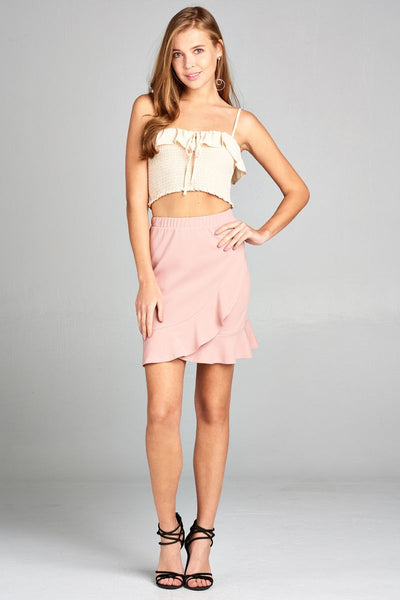 Ladies fashion banded waist wrap look w/ruffle mini skirt - Kendalls Deals