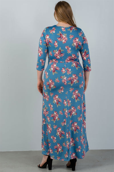 plus size  sky blue & floral print maxi dress - Kendalls Deals