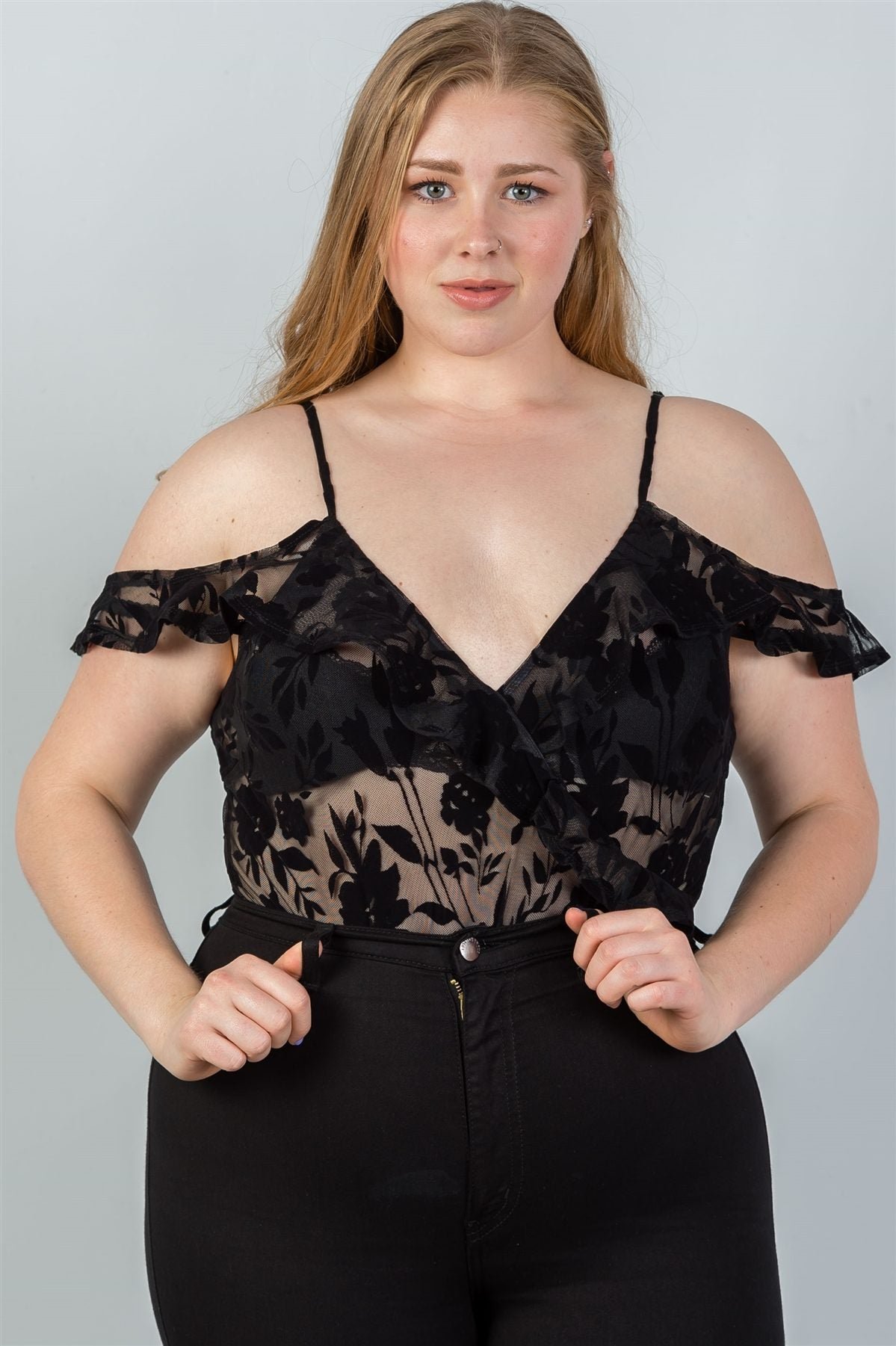 Ladies fashion plus size cold shoulder black velvet floral burnout bodysuit - Kendalls Deals