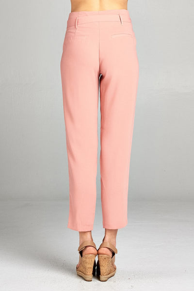 Ladies fashion high rise w/double metal trim belt long leg woven trousers - Kendalls Deals