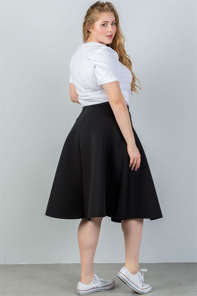 Ladies fashion plus size midi length black midi skirt - Kendalls Deals