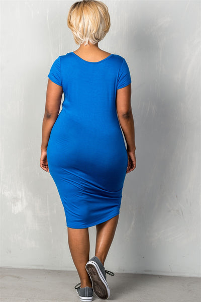 Ladies fashion plus size short sleeves stretchy fitted midi length round neckline dress - Kendalls Deals