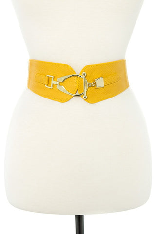 Oval link metal faux leather stretch belt