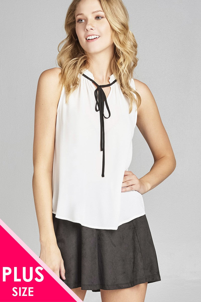 Ladies fashion plus size sleeveless contrast self-tie wool dobby woven top - Kendalls Deals