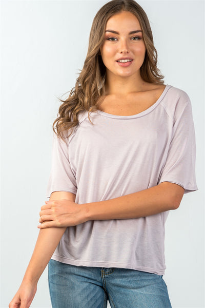 Ladies fashion scoop neckline semi sheer relaxed classic tee - Kendalls Deals