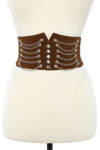 Draped chain wide detailed stretch belt - Kendalls Deals