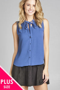 Ladies fashion plus size sleeveless v-neck self tie w/eyelet detail front button woven top - Kendalls Deals