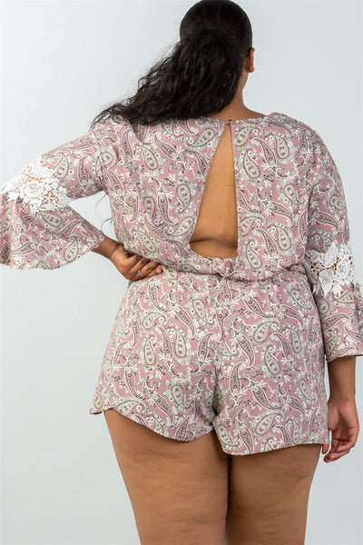 Ladies fashion plus size 3/4 bell sleeves floral crochet sleeves surplice romper - Kendalls Deals