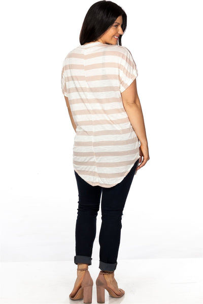 Ladies fashion plus size round neckline striped and destroyed cutout tee - Kendalls Deals