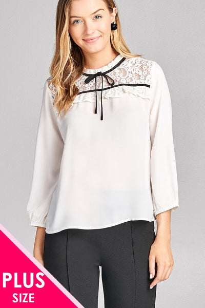 Ladies fashion plus size 3/4 sleeve lace yoke detail w/contrast tie woven top - Kendalls Deals