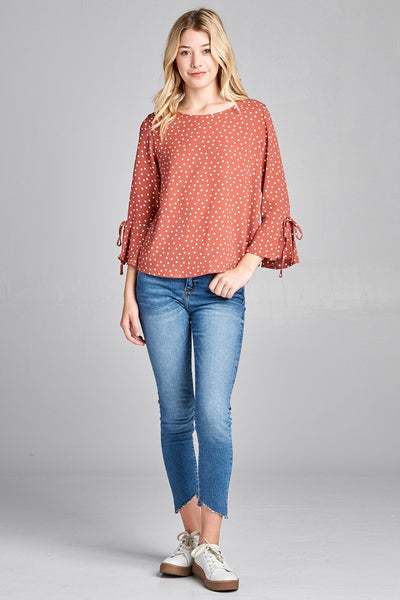 Ladies fashion plus size 3/4 w/bell sleeve round neck dot print crepe woven top - Kendalls Deals
