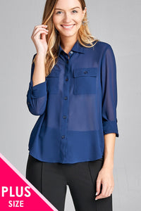 Ladies fashion plus size long sleeve front pocket chiffon blouse w/black button detail - Kendalls Deals