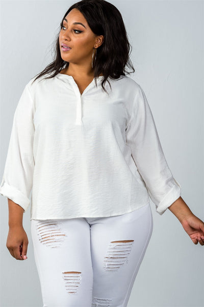 Plus size  oatmeal stand-up collar roll tab sleeve blouse - Kendalls Deals