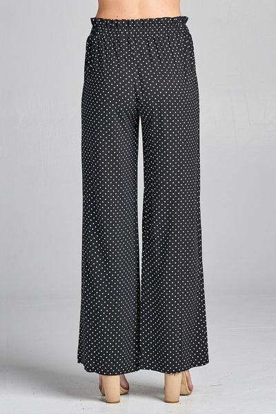 Ladies fashion plus size self ribbon detail long wide leg dot print woven pants - Kendalls Deals