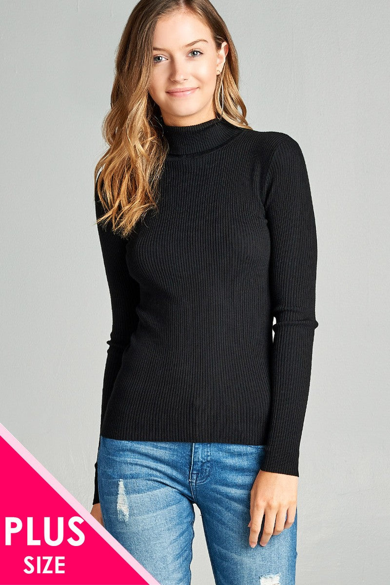 Ladies fashion plus size long sleeve turtle neck fitted rib sweater top - Kendalls Deals