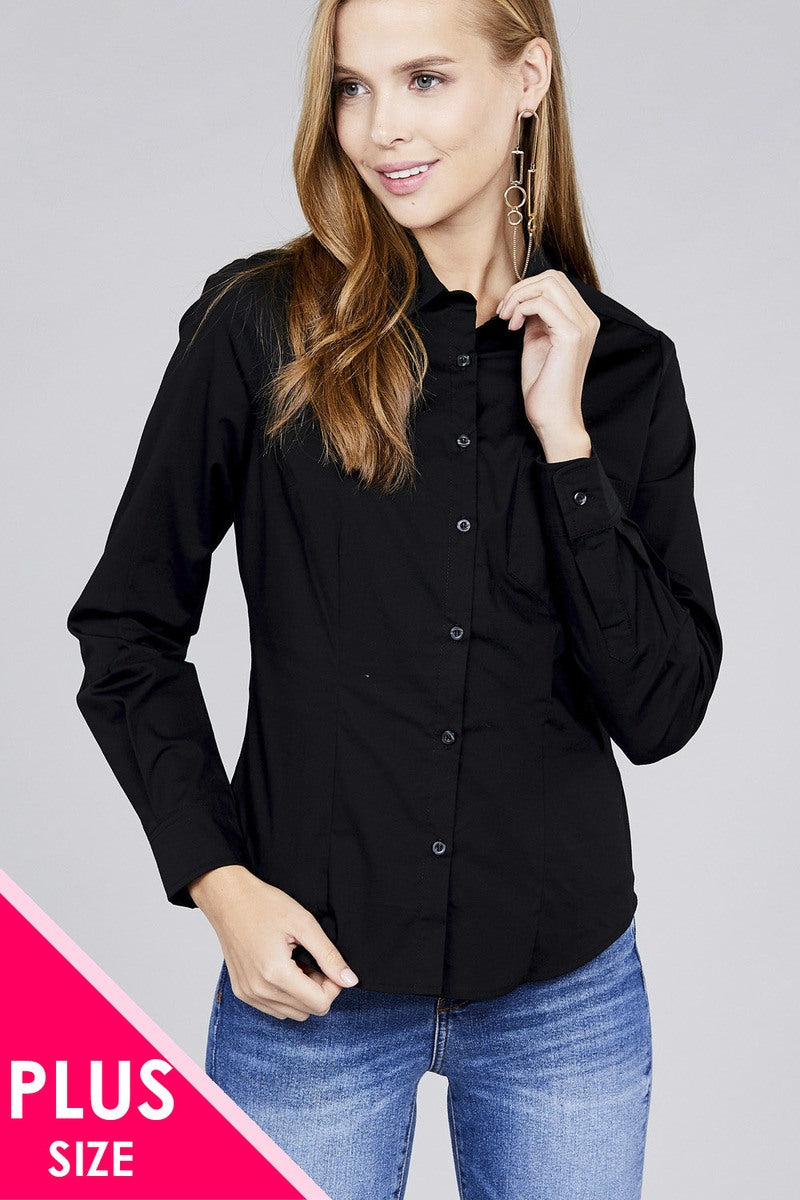 Plus size long sleeve button down stretch shirt - Kendalls Deals