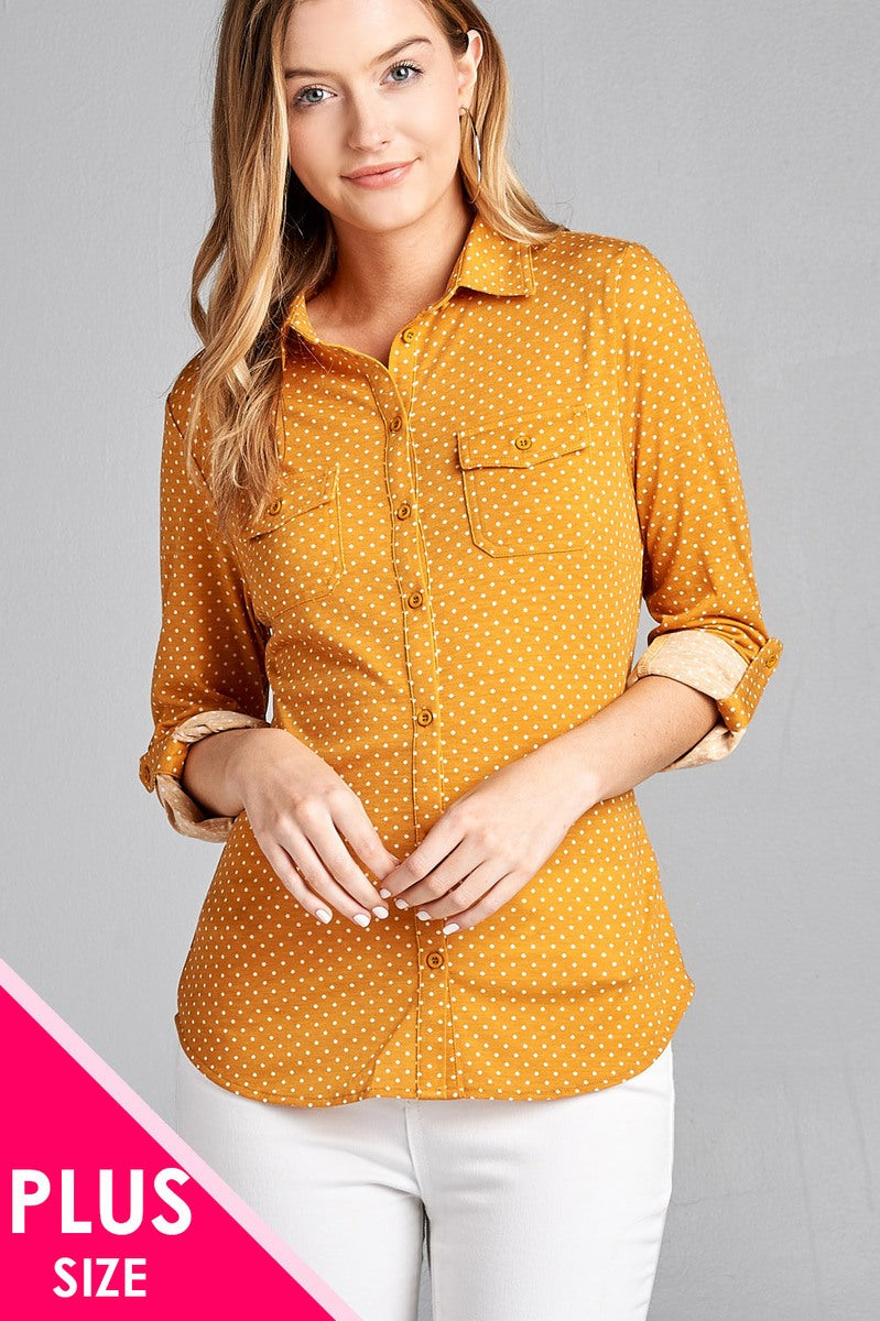 Ladies fashion plus size 3/4 roll up sleeve front pocket detail dot print stretch knit shirts - Kendalls Deals