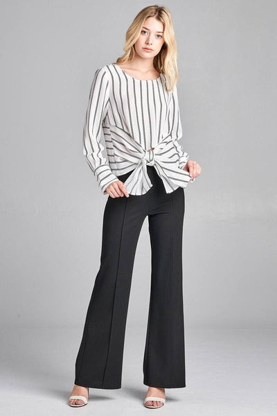 Ladies fashion plus size long sleeve round neck front self tie stripe print woven top - Kendalls Deals