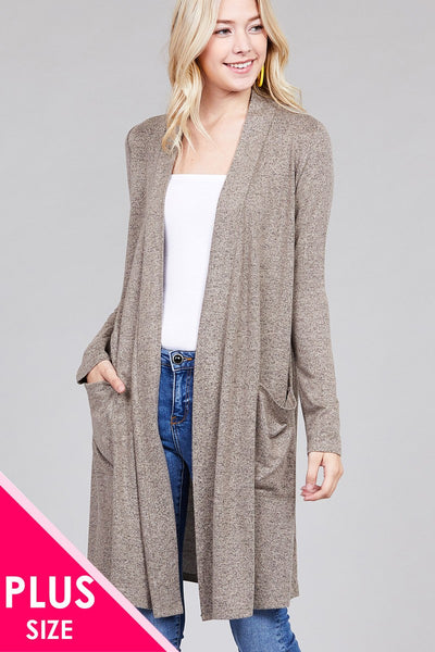 Ladies fashion plus size long sleeve open front w/pocket brushed hacci cardigan - Kendalls Deals