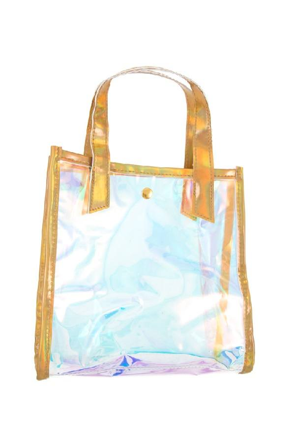 Holographic see through mini tote - Kendalls Deals