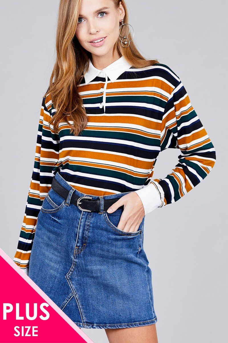 Ladies fashion plus size long sleeve multi striped dty brushed shirts - Kendalls Deals