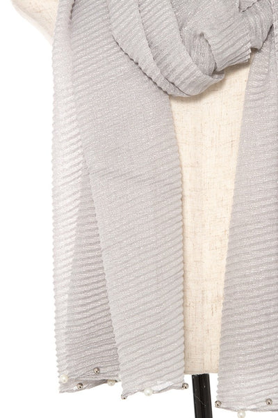 Pleated pearl and bead accent oblong scarf - Kendalls Deals