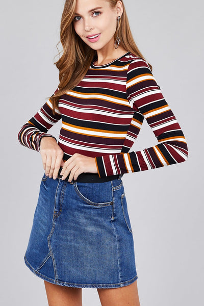 Ladies fashion plus size long sleeve crew neck multi striped dty brushed top - Kendalls Deals