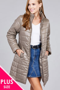 Ladies fashion plus size long sleeve quilted long padding jacket - Kendalls Deals