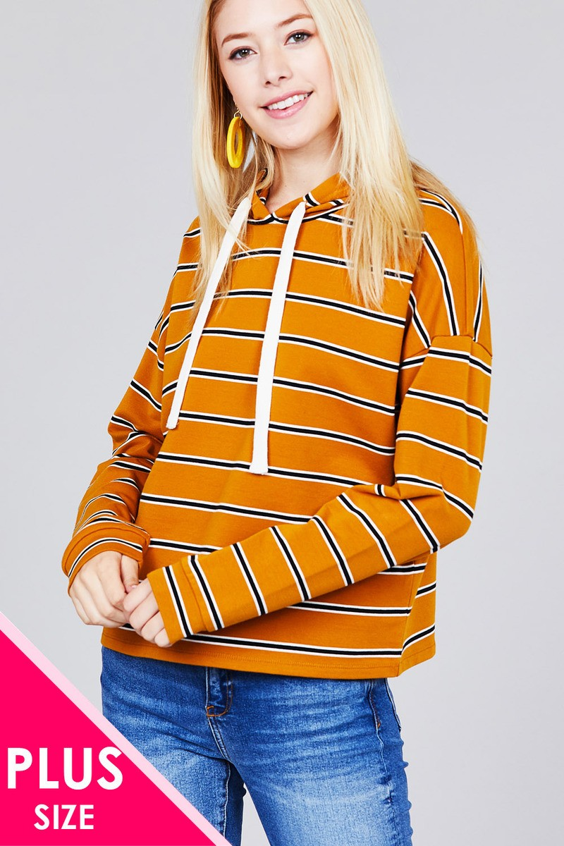 Ladies fashion plus size long sleeve hoodie w/drawstring stripe french terry top - Kendalls Deals