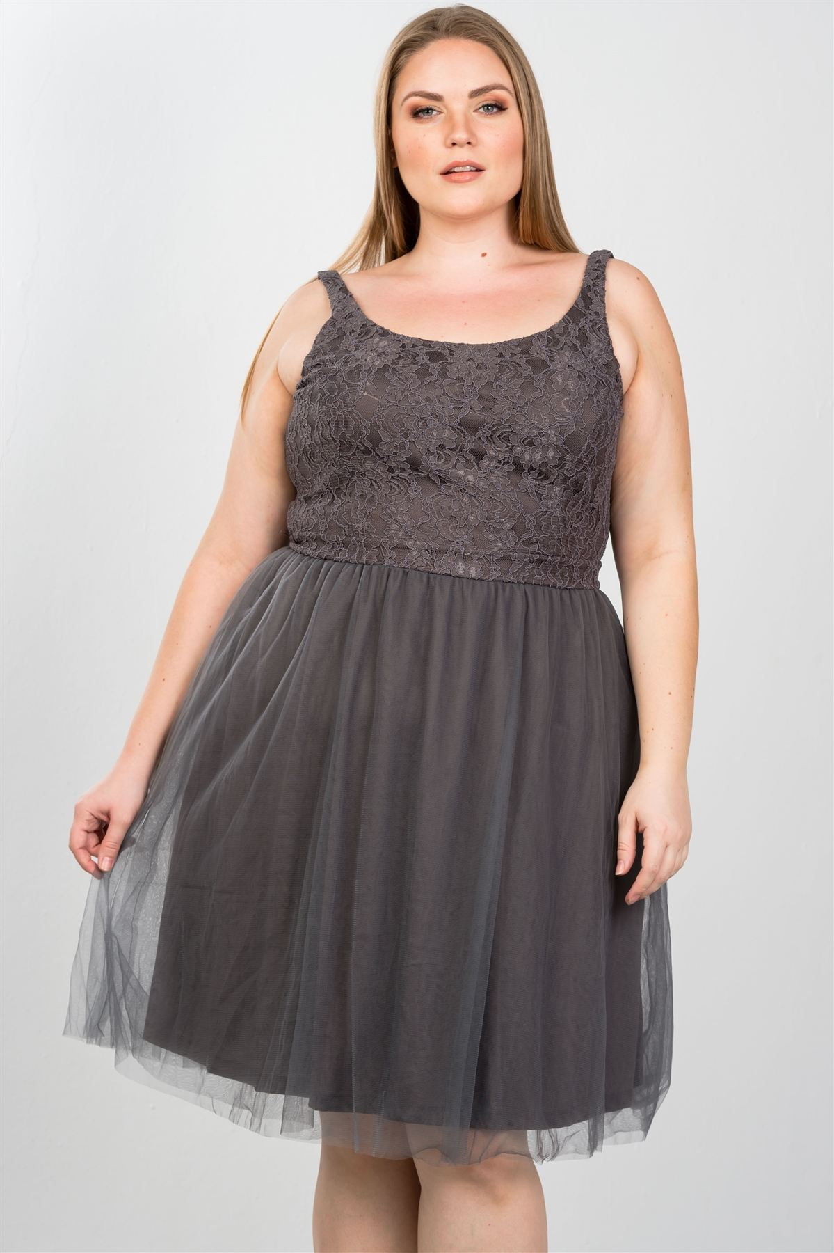 Ladies fashion plus size lace top midi dress with tulle skirt - Kendalls Deals