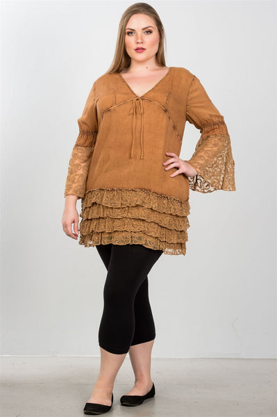 Ladies fashion plus size lace hem v neck tunic top - Kendalls Deals