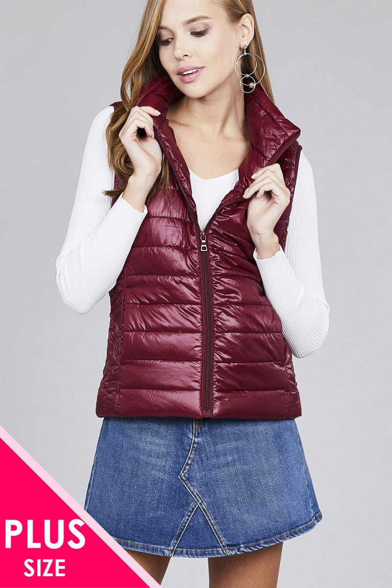 Ladies fashion plus size quilted padding vest - Kendalls Deals