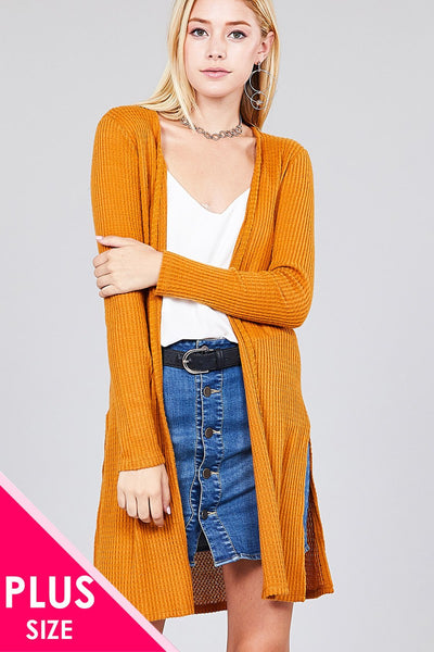 Ladies fashion plus size long sleeve open front side slit tunic length brushed waffle cardigan - Kendalls Deals