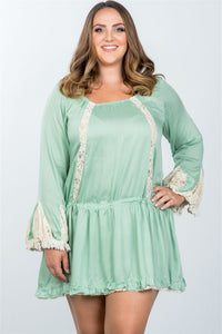 Ladies fashion plus size boho lace trim puff cuff dress - Kendalls Deals